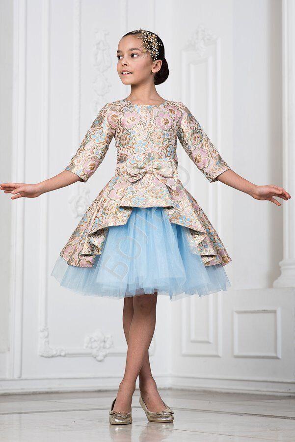 fd621aa5a75 Нарядное платье для девочки модель 404 парча цвет розовый с голубым 2600+