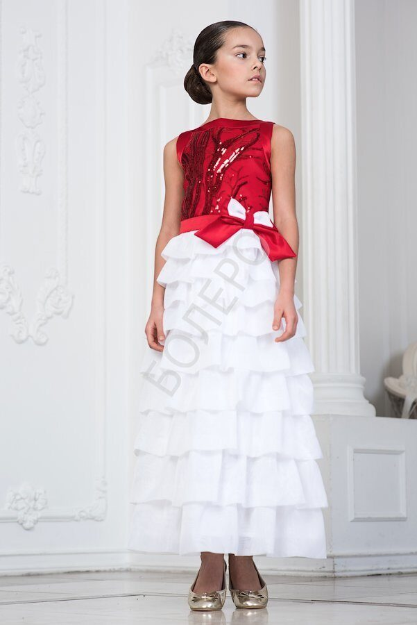 000f45a90f9 Нарядное платье для девочки модель 309 длинное цвет красный с белым 2100+