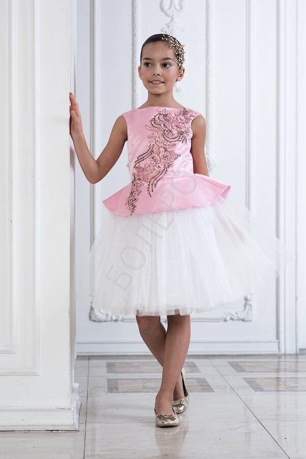 771e48efef9 Нарядное платье для девочки модель 322 цвет розовый с белым 2750+